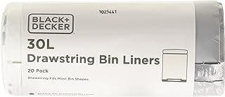 BLACK+DECKER BXBB00030E 30L Trekkoord Bin Liners, 20 Pack, Wit