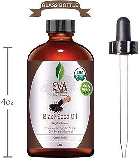Nigella Sativa Black Cumin Oil Organic Cold Pressed 118 ml (4 Oz) Kalonji 100% Pure Natural USDA Certified Unrefined Therapeutic Grade by SVA Organics