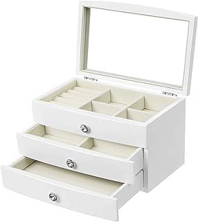 SONGMICS Boîte à Bijoux à3 Niveaux, avec Grand Miroir intérieur,en Cristal, Blanc JOW03WT