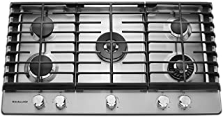 KitchenAid 36'' 5-Burner Gas Cooktop with Griddle Stainless Steel KCGS956ESS