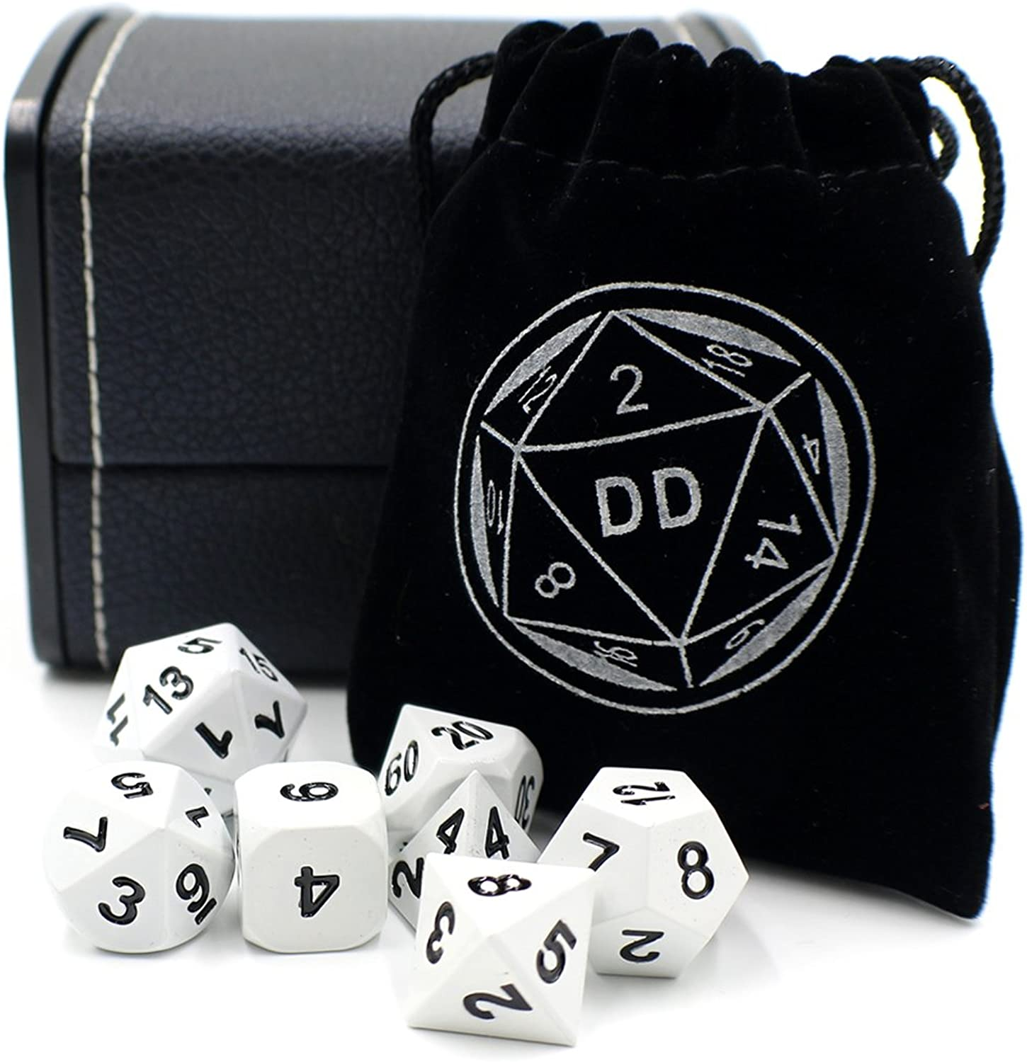 White Metal DND Gaming Dice Set with Storage Box for Tabletop Games