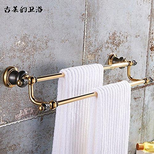 Redhj suspensión de la Torre Baño de Cobre Europeo Conjunto Negro Oro Viejo toallero Estante toallero baño American, Bipolar
