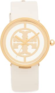 Tory Burch Women's The Reva Leather Watch, Gold/Ivory, One Size