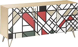 NyeKoncept 13004467 Organic Modernism Hairpin Sideboard44; Natural & Brass
