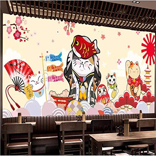 Custom Lucky Cats Japanese Cuisine Sushi Restaurant Industrial Decor Mural Wallpaper 3D Cartoon Wall Paper 3D Papel De Parede 200Cm(W)×140Cm(H)
