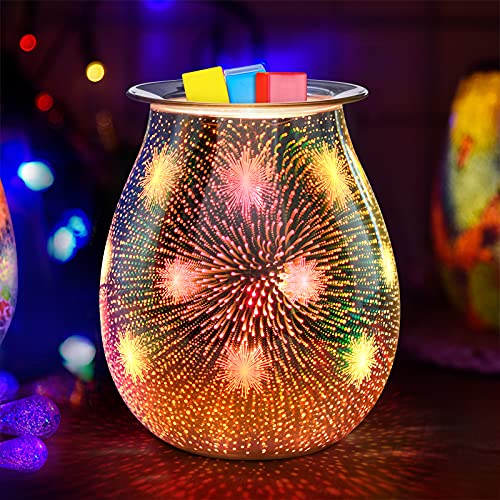 Jumkeet Feuerwerk Duftlampen, 3D Elektrische Glas Aroma Lampe, Ölbrenner Wachs Schmelzbrenner Wärmer Kerzenölbrenner, Nachtlicht dekorative Lampe für Home Office Schlafzimmer Wohnzimmer Geschenk