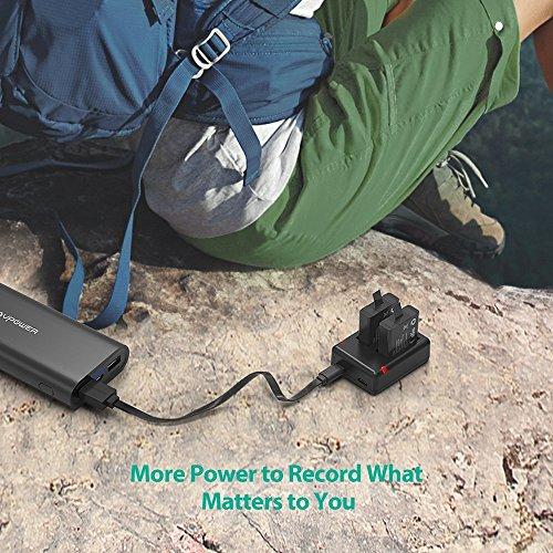 RAVPower Hero 5 Battery 2 Pack Camera Batteries and Dual Slot USB Charger Set For For Gopro Hero 5 Black/Hero 6 Black