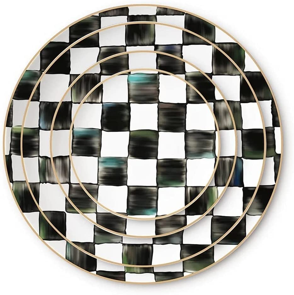 Black And White Bone Dinner Plate Cheap super special price Wedding Online limited product Plates Rim China Gold
