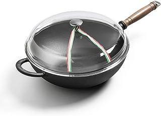 Pots de cuisson, Wok Wok antiadhésif Wok antiadhésif Wok en fonte non revêtue Wok à fond plat de 30 cm Cuisinière à gaz Ca...