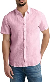 Runcati Mens Short Sleeve Shirts Button Down Tops Fishing Tees Spread Collar Plain Summer Blouses
