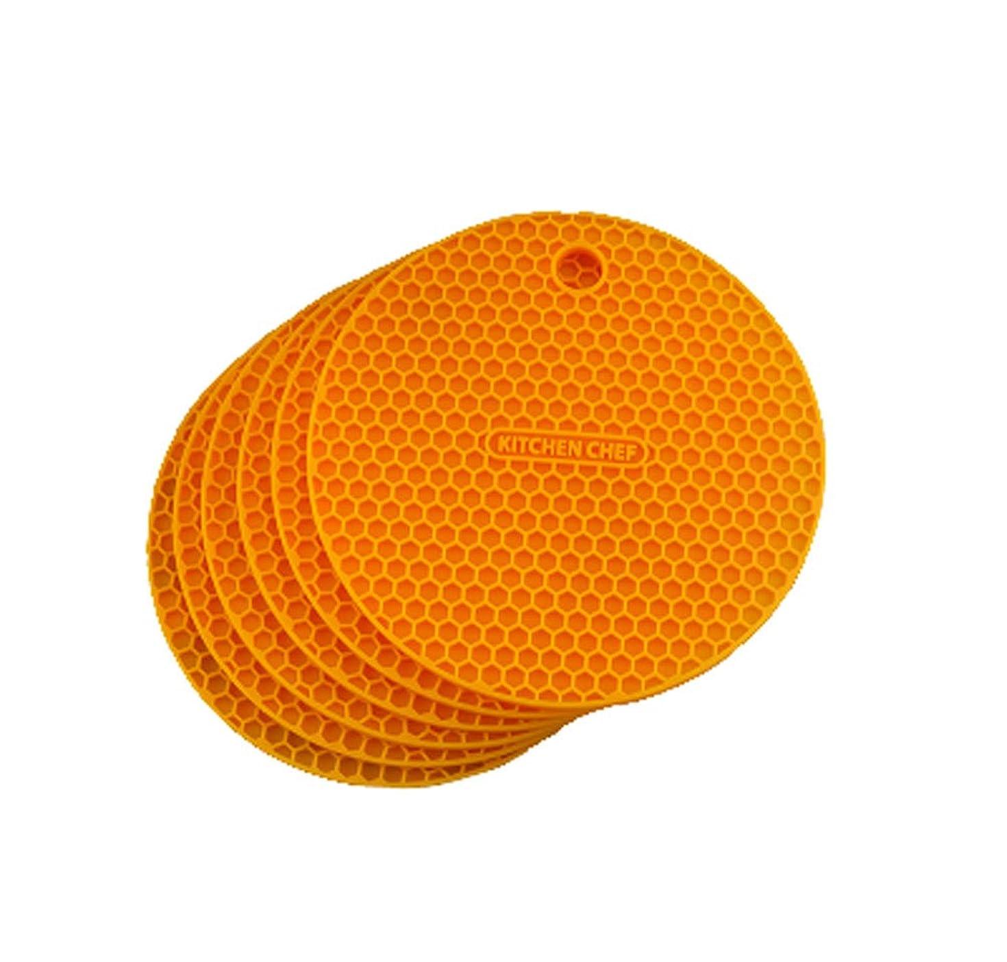 途方もない誘うトロリーノンスリップ防水シリコンラウンドテーブルプレースマット、オレンジのセット