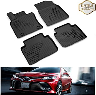 KIWI MASTER Floor Mats Liners Compatible for 2018-2019 Toyota Camry Non-Hybrid All Weather Protector Mat Front & Rear 2 Row Seat TPE Slush Liner Black PT908-03180-20