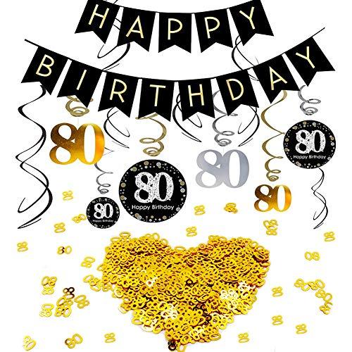 INTVN 80.Geburtstag Dekoration Set, Alles Gute zum Geburtstag Banner Konsait Gold Schwarz Silber Deko 80 Geburtstag Swirl Spiralen Girlanden zum Aufhängen Zahl