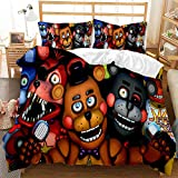 Five Nights at Freddy's Bedding Sets Twin Size Cartoon Bear Printed 2 Piece Bed Set for Kids Boys,1 Duvet Cover + 1 Pillow Sham