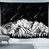 Sosolong Moon and Star Tapestry Mountain Tapestry Forest Tree Tapestries Starry Night Sky Tapestry Black and White Tapestry for Room, Wall Hanging for Bedroom (Shooting Stars, 59in51in)