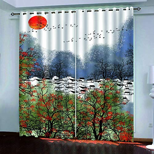 3D Digital Magpie Bridge Printing Curtain Polyester Waterproof And Quick-Drying Blackout Vertical Curtain Hotel Bedroom Garden Balcony Curtain (2 Pieces)