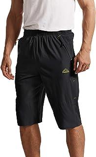 BGOWATU Men's Lightweight Outdoor Hiking Shorts Quick Dry Gym Shorts Fishing Camping Cycling Shorts with Elastic Waist