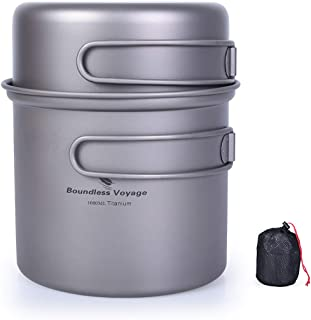 Boundless Voyage Titanium Pot Set 1000ml+500ml with Folding Handle Outdoor Camping Picnic Bowl Ultralight Cooking Tableware [Ti1502B]
