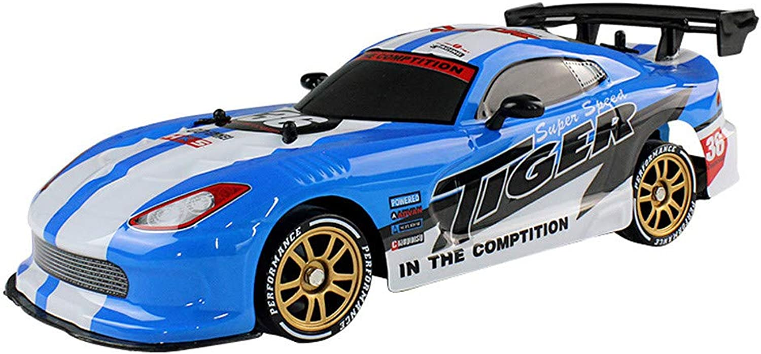 RC Drift Car Cool LED Light USB 2.4G High Speed Remote Control Racing RedBrowm (bluee)