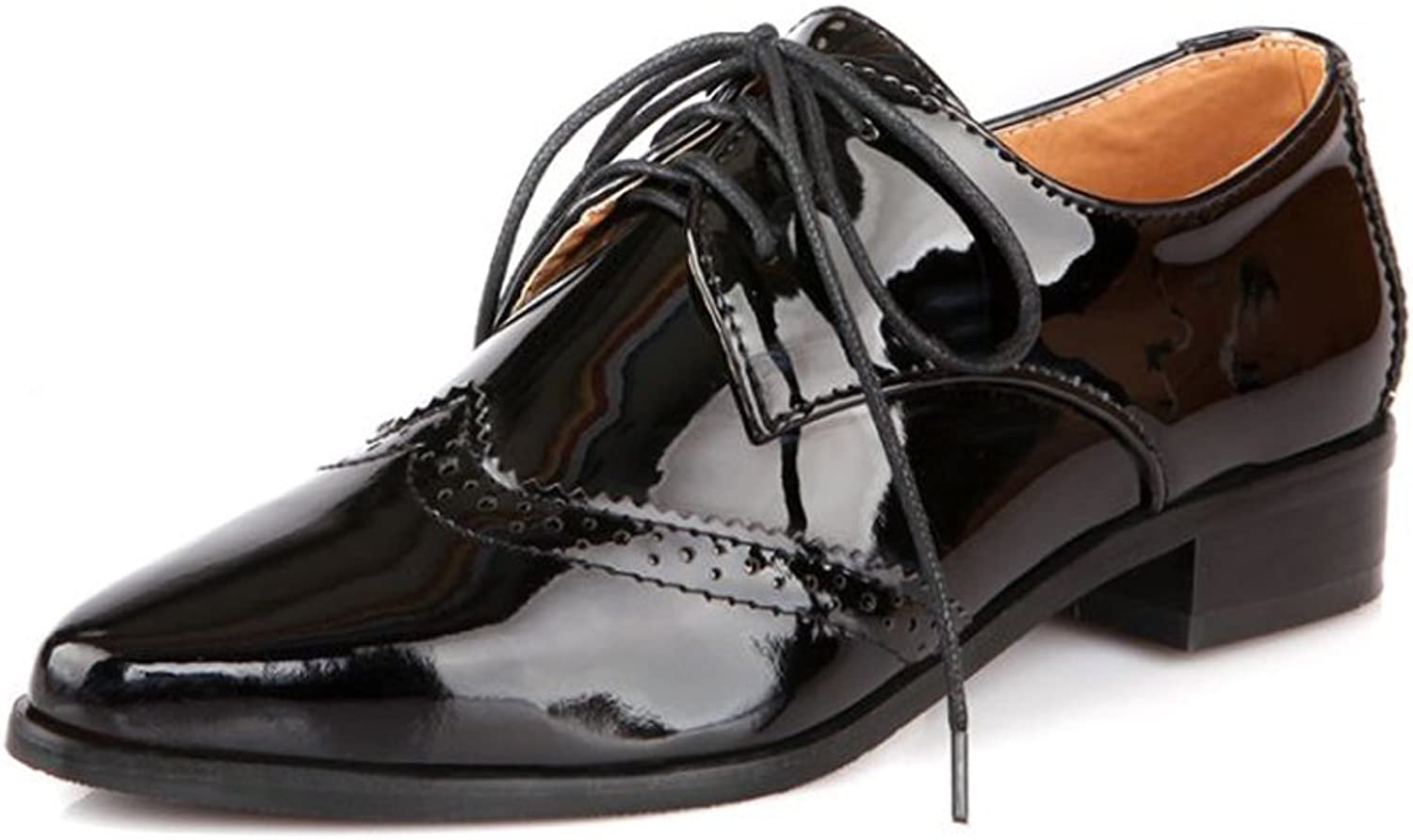 Lucksender Womens Pointed Toe Lace Up Low Heel Oxford shoes