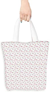 Flamingo Carrying Bag Horizontal Striped Background with Pastel Colored Island Jungle Birds boutique 16.5