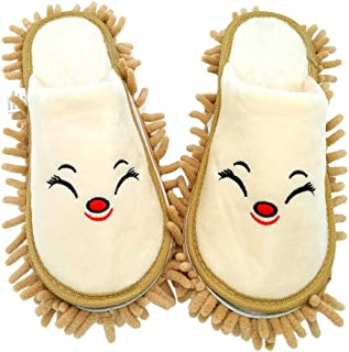 Selric Smiling Fox Super Chenille Microfiber Washable Mop Slippers Shoes Camel, Floor Dust Dirt Hair Cleaner, Multi-sizes Multi-Colors Available 10 1/4 Inches Size:9.5-10