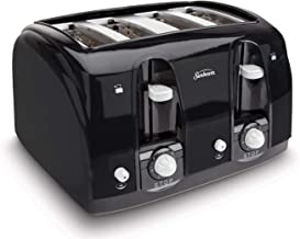 Sunbeam Wide Slot 4-Slice Toaster, Black (003911-100-000) (Renewed)