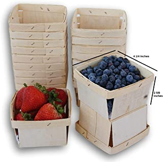 Jumping Daisy Pint Square Vented Wooden Berry Baskets - Set of 20