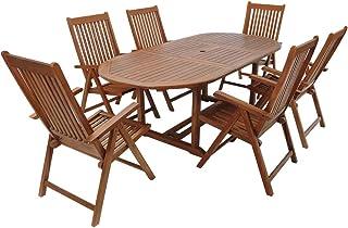 Casaria Conjunto de jardín de madera set de 1 mesa con extensión y espacio para sombrilla y 6 sillas plegables exterior
