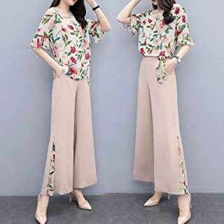 Alician Women Lady Summer Fashion Slim Floral Printing Tops+Wide Leg Pants Two Piece Suit Outfit