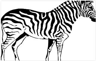 Tree26 Indoor Floor Rug/Mat (23.6 x 15.7 Inch) - Silhouette Drawing Outline Zebra Nature Sketch