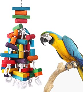 KINTOR Bird Chewing Toy Large Medium Parrot Cage Bite Toys African Grey Macaws Cockatoos Eclectus Amazon