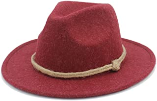 RongAi Chen Women's Men's Wide Brim Fedora Hat For Lady with hemp rope