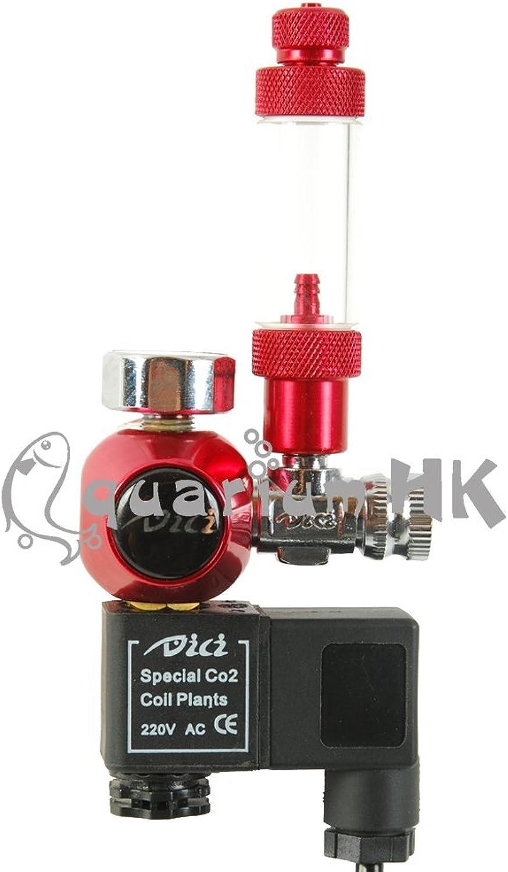 DICI Aquarium Co2 Single Gauge Bubble Counter Solenoid Regulator Red