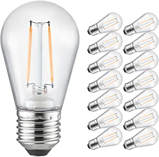 Otronics S14 LED Bulbs,15 Pack Shatterproof Outdoor String Lights Yellow Bulbs,Energy Saving 0.8W Light Bulbs w/E26 Base