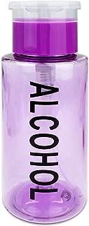 PANA 7 Oz PURPLE Alcohol Labeled Liquid Push Down Pump Dispenser Bottle with Flip Top Cap