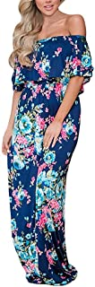 MIDOSOO Womens Side Slit Off Shoulder Ruffled Long Printed Foral Maxi Dress Pockets