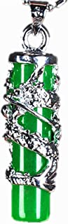 قلادة من الفضة 925 قلادة من اليشم الأخضر الطبيعي قلادة فضية سحر مجوهرات إكسسوارات التعويذة للرجال النساء هدايا (اللون: أخضر)