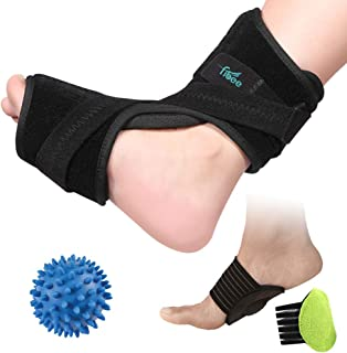 Plantar Fasciitis Night Splint Foot Drop Orthotic Brace for Sleep Support, Adjustable Dorsal Night Splint for Relief Plantar Fasciitis Pain, Arch Foot Pain with Green Gel Arch Support and Massage Ball