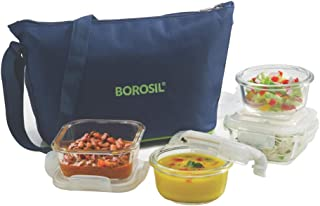 Borosil Glass Daisy Lunch Box Set of 4, (2 pcs 320 ml Square + 2pcs 240 ml Round) Microwave Safe Office Tiffin
