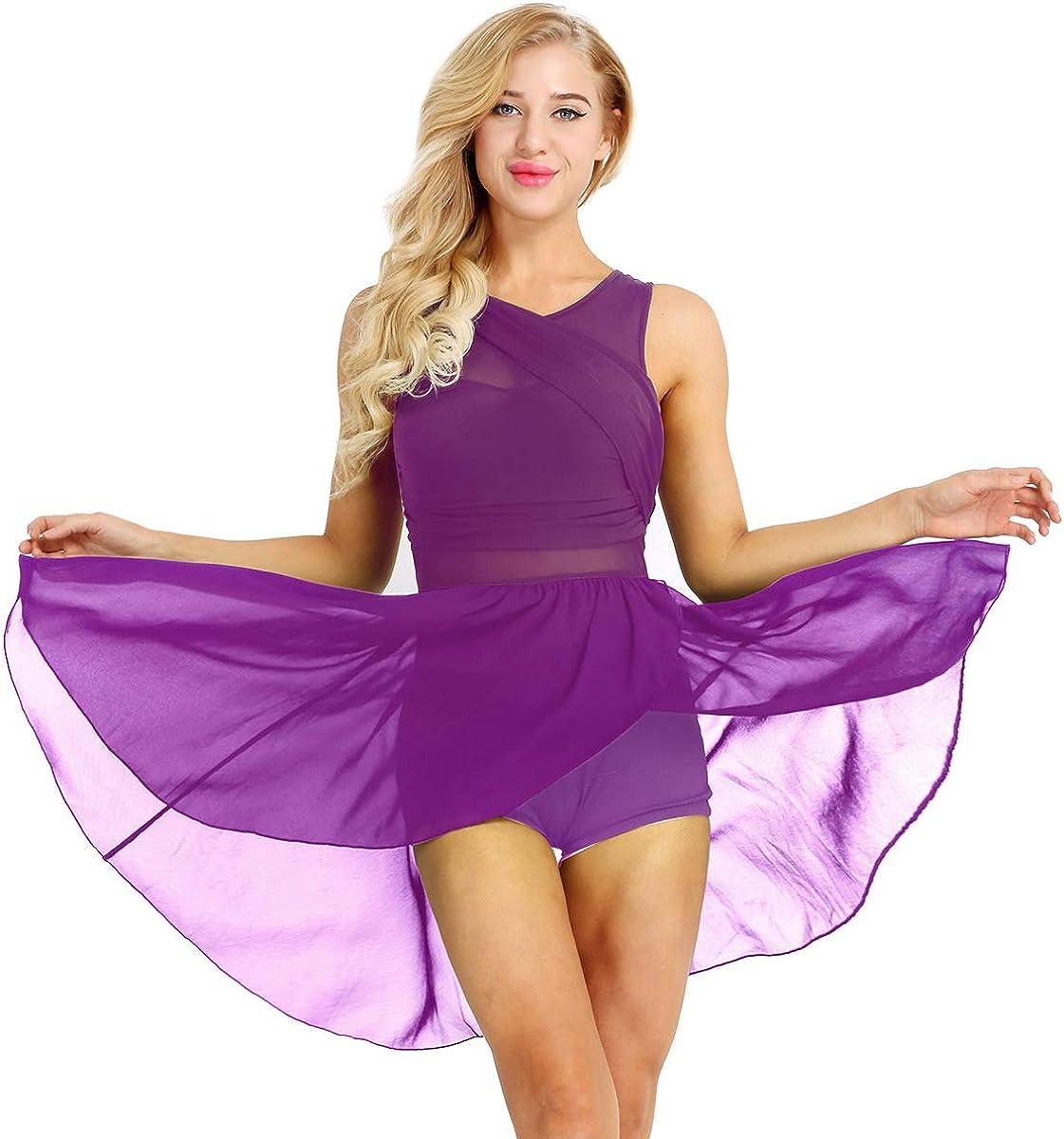 JEATHA Womens Asymmetric Chiffon Lyrical Ballet Dance Gymnastics Leotard Dress Flowy High-Low Skirt