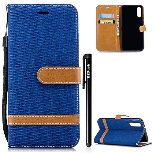 BtDuck Huawei P20 Hülle, Denim PU Leder Slim Tasche Stand Flip Case Brieftasche Retro Ledertasche Weich Silikon Back Cover Hülle mit Magnetverschluss Kartenfach Handyhülle für Huawei P20 Blau