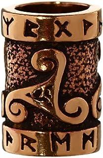 NKlaus Capelli Ornamento Barba Perla TRIRUNA Triskel con Rune riccioli di Bronzo Perla 6414