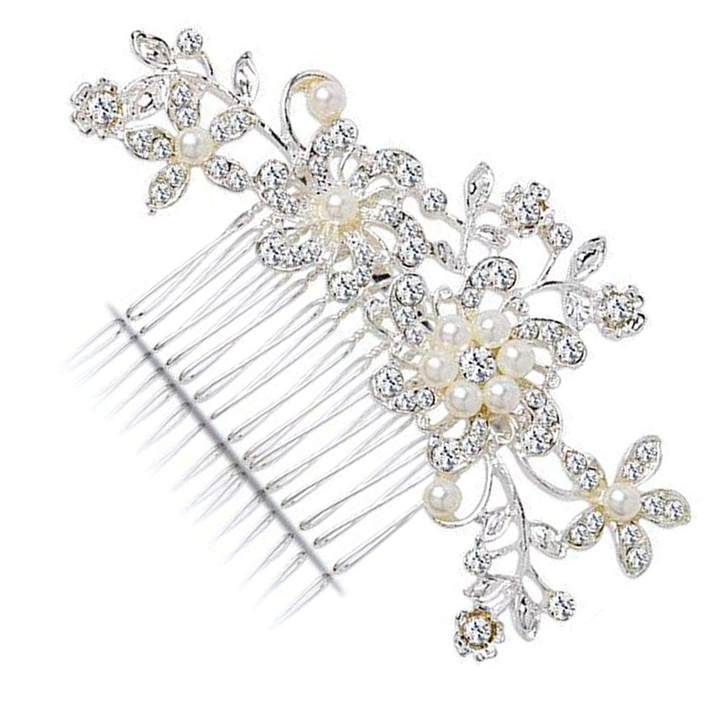 KaLaiXing Hair Comb-Vintage Simulated Crystal and Pearl Side Combs Bridal Headpiece Wedding Accessories for Wedding