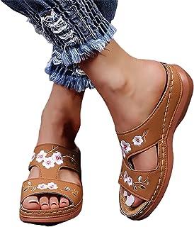 XINSTAR Sandales orthopédiques en cuir brodées à motif floral vintage avec semelle souple et semelle intérieure orthopédiq...