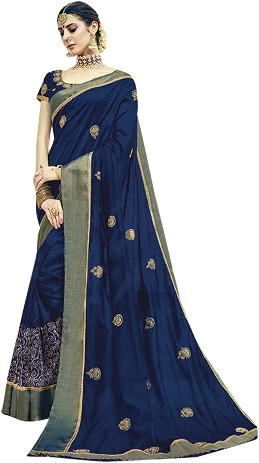 Indian Ethnic Navy bluee Border With Booty Saree With Blouse Embroidered Classic Designer Collecion Women Stylish Party Formal Wear 7281