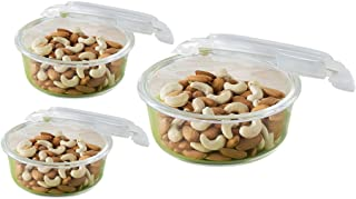 Borosil Microwavable Klip - N - Store Round Dish with Lid - Set of 3 (400, 620, 950 ml)
