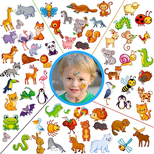 Konsait Tattoo Kinder, Tier Temporäre Tattoos Set, Tiere Tattoos Kinder, Wasserdicht Klebe Kindertattoos Aufkleber für Mädchen Jungen Kindergeburtstag Mitgebsel Gastgeschenke Taschen Füller