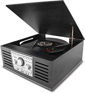 D&L Classic Record Player, Wood 7-in-1 Bluetooth Phonograph with AM/FM, CD, MP3 Recording to USB, CD Player, FM Radio,AUX Input for Smartphones and RCA Output, Turntable for Vinyl Records