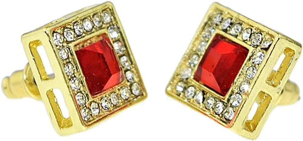 Red Ruby Hip Hop Earrings Faux Stone 13 MM Square Gold Tone Iced Men Bling